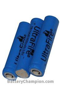 UltraFire 3x 10440 batterij (600 mAh, Oplaadbaar)