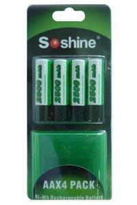 Soshine 4x AA Batterie (2500 mAh, Wiederaufladbar)