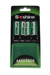 Soshine 4x AA Batterie (2700 mAh, Wiederaufladbar)