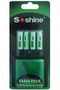 Soshine 4x AAA batteria (900 mAh, Ricaricabile)