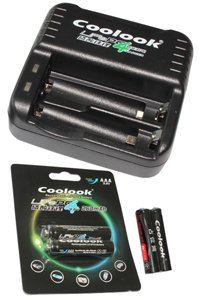 Coolook Lithium AAA Alimentatore / caricabatteria Include 2 AAA batterie sostitutive