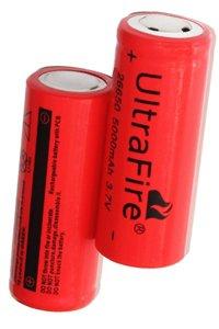 UltraFire 2x 26650 batteria (5000 mAh, Ricaricabile)