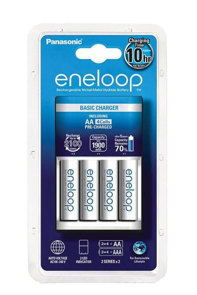 Eneloop charger, Including 4x AA battery (1900 mAh)