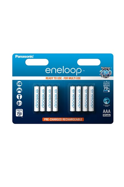 Eneloop 8x AAA batteri (750 mAh)