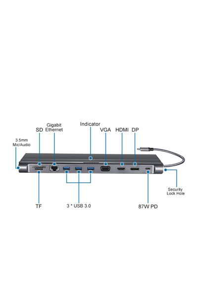 Type C (USB 3.1) Docking Station til Notebook