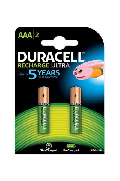 Duracell 2x AAA battery (850 mAh, Rechargeable)