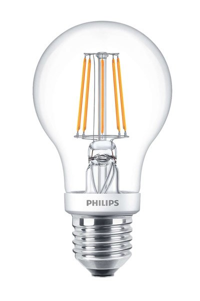 Philips Filament E27 LED Lamp 4,5W (40W) (Pear, Clear, Dimmable)