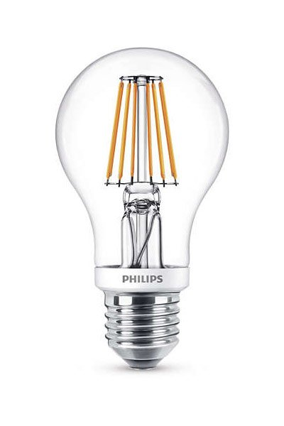Philips Filament E27 LED Lamp 7,5W (60W) (Pear, Clear, Dimmable)