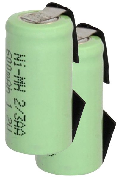 2x 2/3 AA battery with solder tabs (600 mAh, Rechargeable)