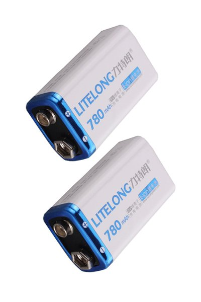 2x 9V block battery (780 mAh, Rechargeable)