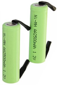 2x AA battery with solder tabs (2500 mAh, Rechargeable)