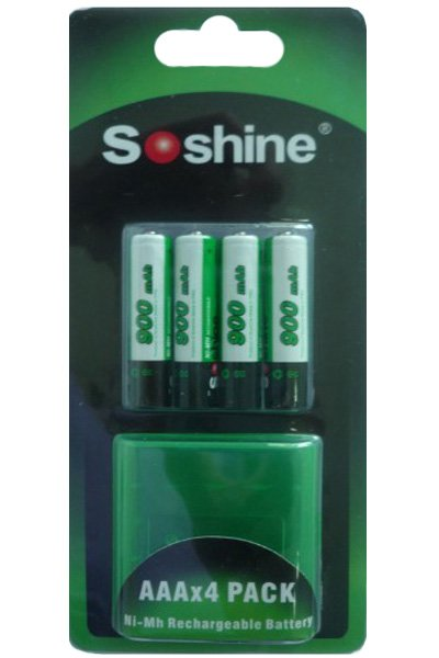 Soshine 4x AAA battery (900 mAh, Rechargeable)