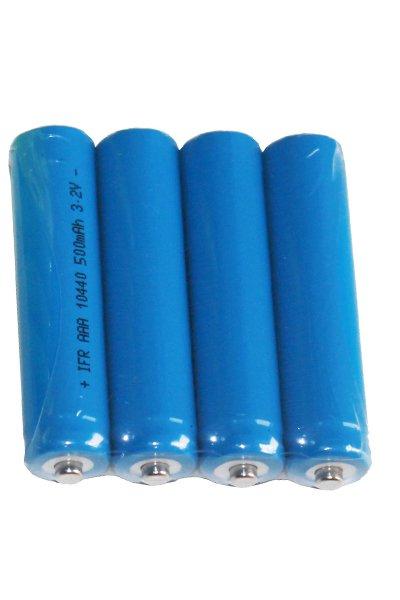 4x 10440 batterij (500 mAh, Oplaadbaar)