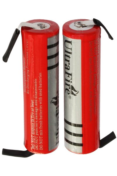 UltraFire 2x 18650 battery with solder tabs (3000 mAh, Rechargeable)