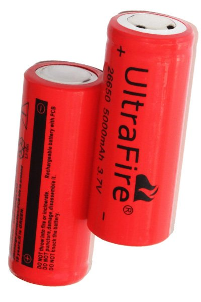 UltraFire 2x 26650 battery (5000 mAh, Rechargeable)