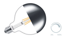 Globe filament mirrorhead dimmable