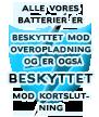 Alle vores batterier er beskyttet mod overopladning og er også beskyttet mod kortslutning