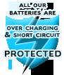 Все наши аккумуляторы защищены от избыточного заряда и короткого замыкания